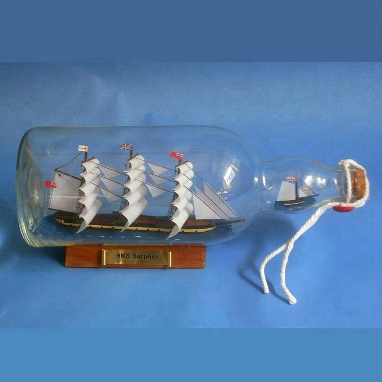 HMS SURPRISE Handcrafted Nautical Model Souvenirs Blown Glass 'Ship In A Bottle' Decor