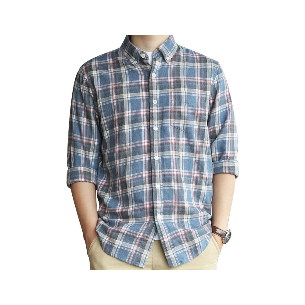 HIGH QUALITY TRENDY DESIGN DIRTY BLUE WITH RED CHECK WARM FLANNEL BUTTON DOWN CASUAL SHIRT FOR MAN