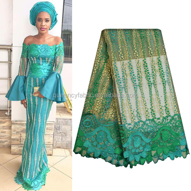 NQ439 Queency Hot Design Beautiful African Net Lace French Silk Fabric with Stones for Wedding Dress
