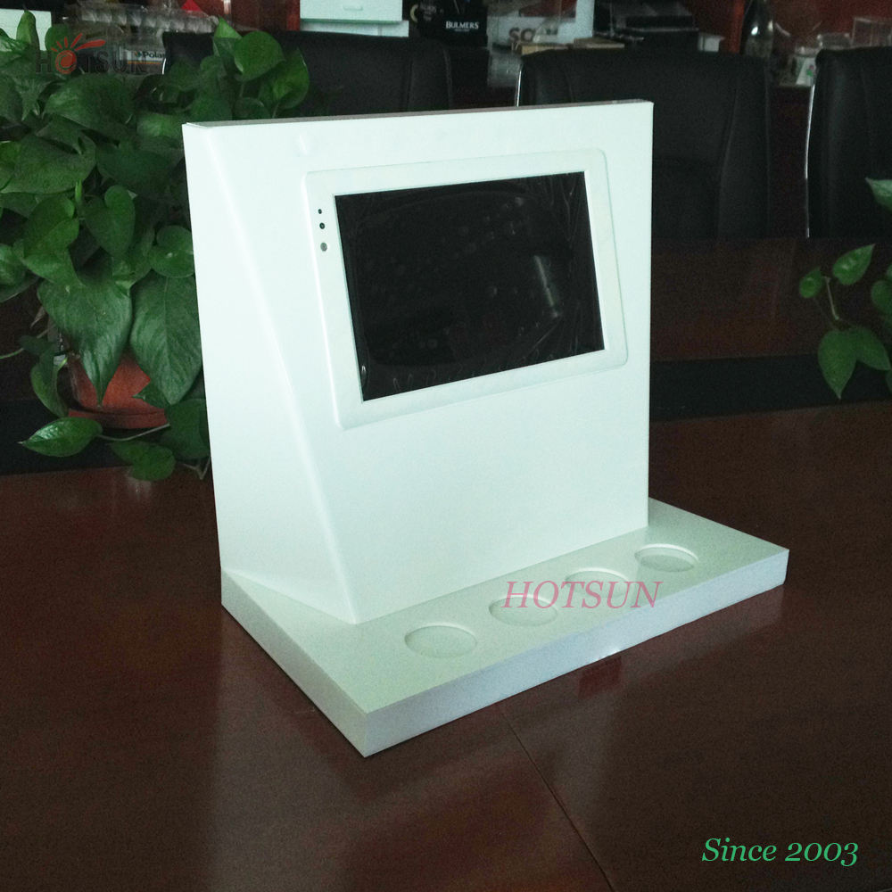 White Acrylic Counter Top Display with Lcd Display Customized POS Display Rack with LCD