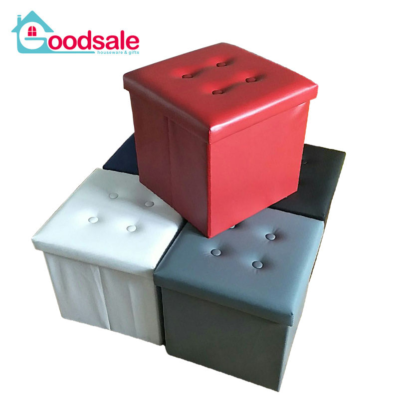 Mixed 5 Color Pvc Leather Folding Storage Puff Ottoman Cube Storage Stool