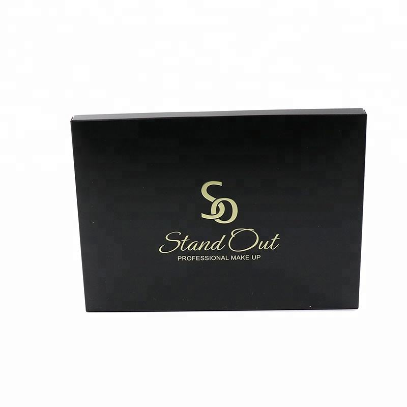 Black Foldable Paper Packaging Box For Cosmetics full color printing gold foil stamping gold matelic stamping