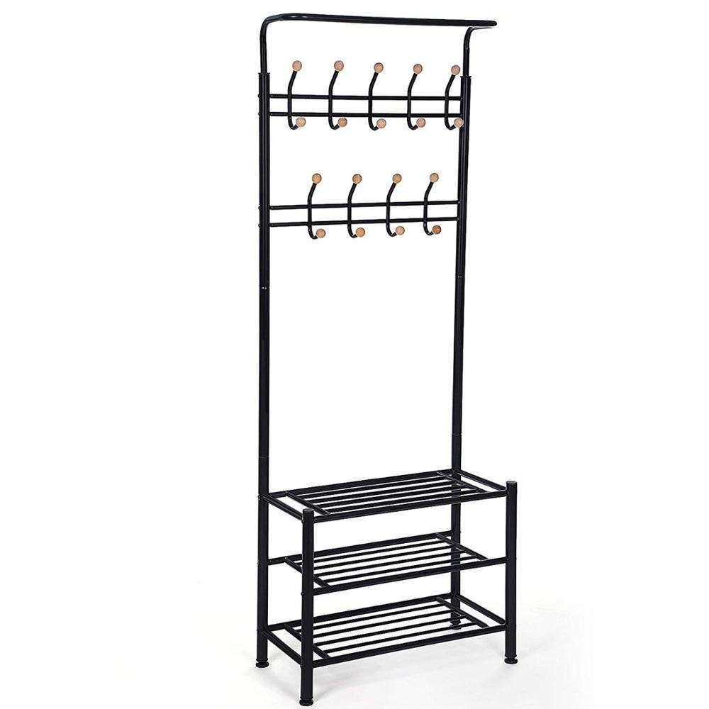 entrance vintage hallway furniture organizer metal entryway coat and shoe rack stand with storage hooks