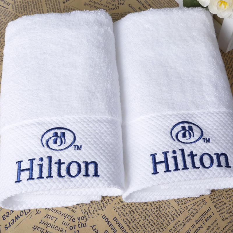 100% cotton hotel bath hand towel with embroidered logo for luxury Hilton hotel
