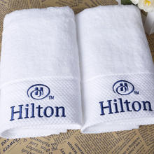 Diamond band 100% cotton hotel hand towel with embroidered logo for luxury Hilton hotel