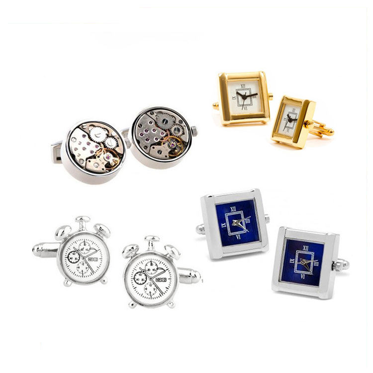 best selling novelty alloy chrome fashion cuff link functional movement clock watch cufflink tie bar