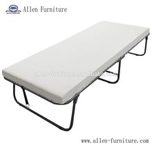 Deluxe Metal Folding Guest Bed Twin Size With Foam Mattress, Cot Folding Bed