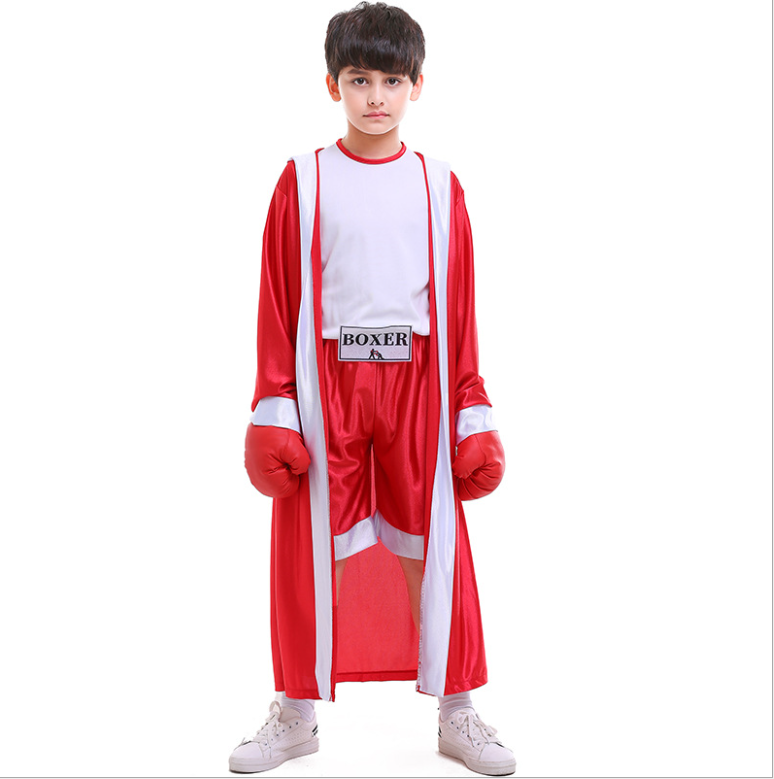 Blue Red kids boxer costumes Boxing costume with coat Chinese Kong-fu Costume