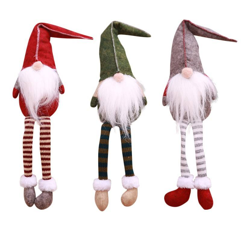Swedish Christmas Dolls Tomte Long Leg Gnome Plush Doll Handmade Home Decor Collectible Dolls Desktop Ornament