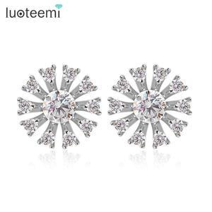 LUOTEEMI New Hot Fashion Jewelry Lots Wholesale Cubic Zirconia Diamond Ferris Wheel Stud Earrings