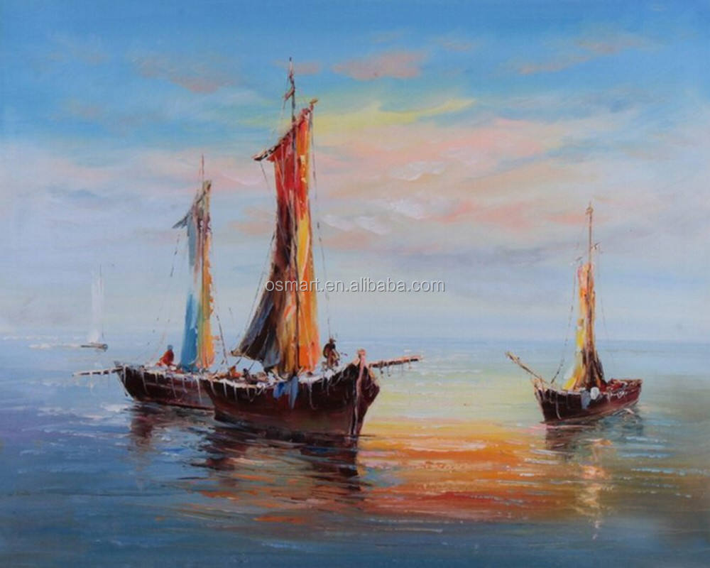 Beautiful Color Experienced Artist Team 100% Handmade Oil Painting Boats and Beach for Study Room Decoration