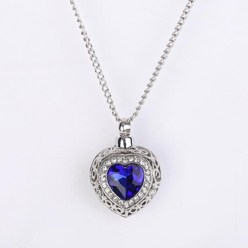 Women Jewelry Opens Locket Blue Heart Stones Ashes Urn Cremation Pendant Necklace