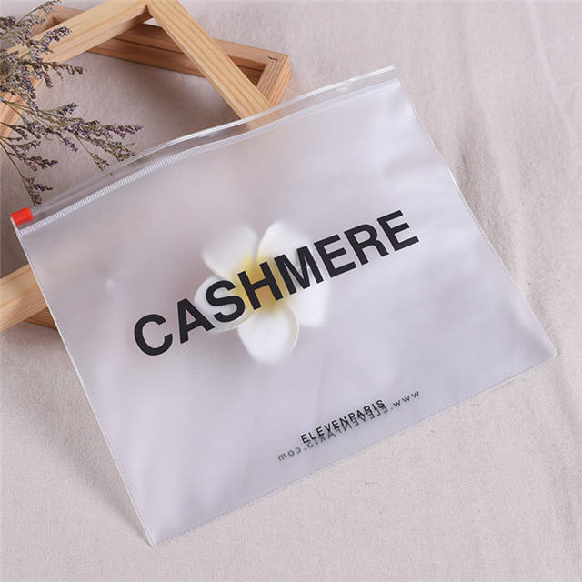 Customized Logo Frosted PVC Clothing Packaging Plastic Zipper Bag For Cosmetic Swimwear zip lock pouch