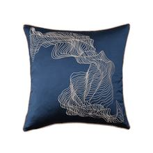 Monad Best Selling Blue Abstract Faux Silk Home Decorative Embroidered Cushion Cover With Piping