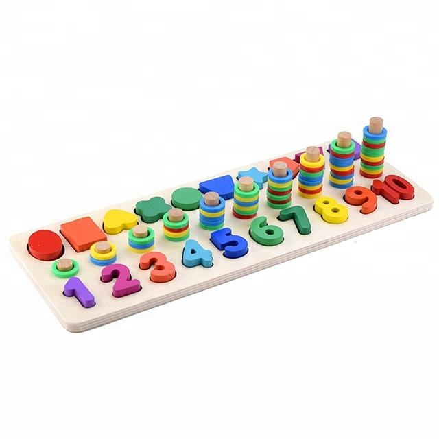 3 in 1 Early Educational Geometry Number Matching Montessori Wooden Toys