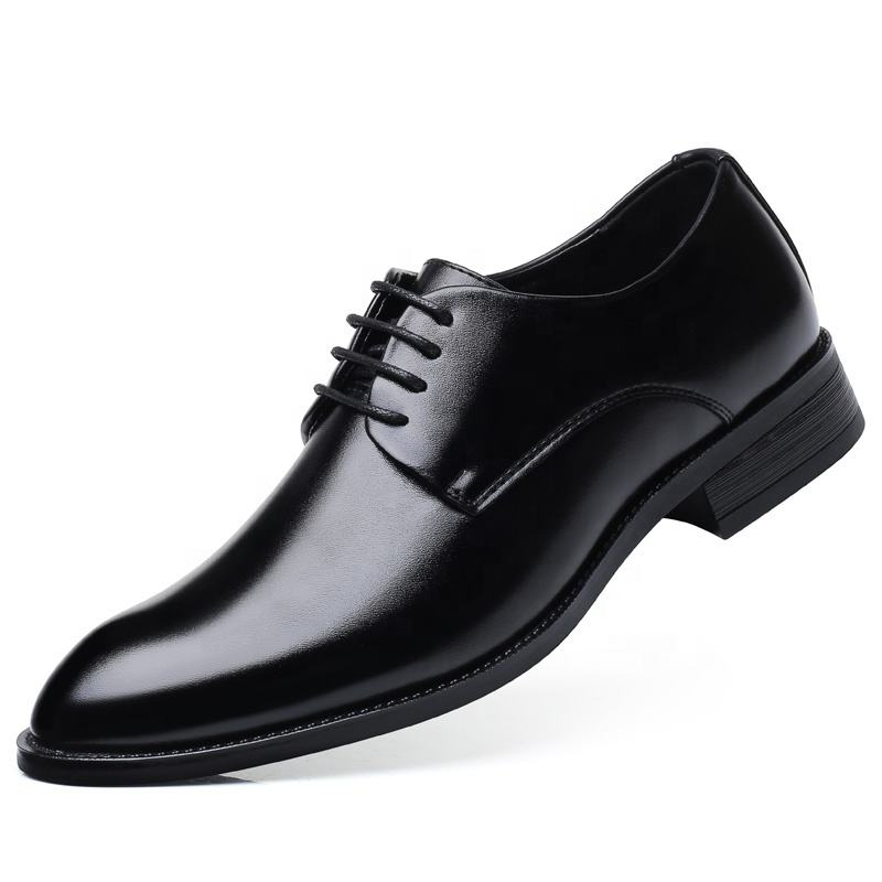 Man Classic Pointed Toe Dress Shoes Formal Leather Derby Shoe Black Oxford for Business Casual Daily