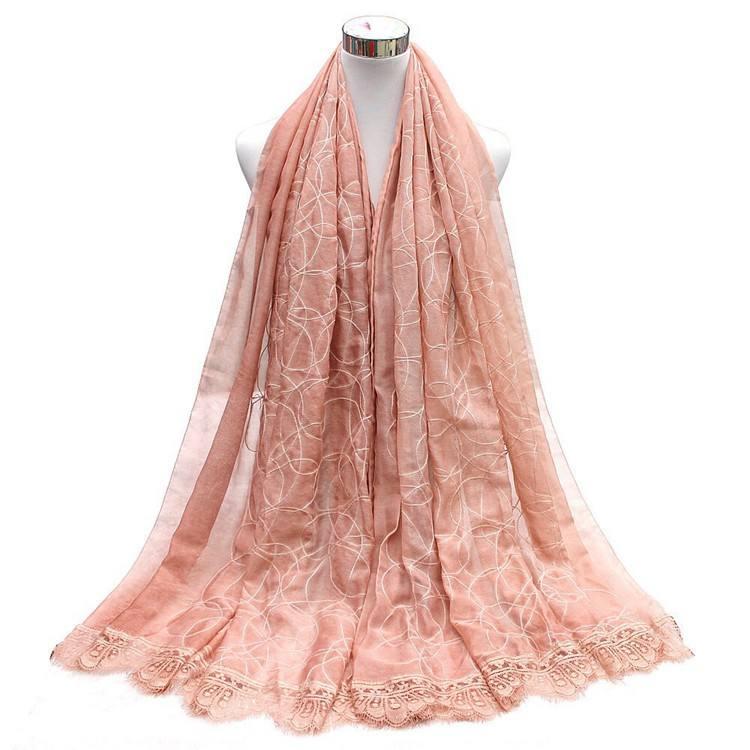 B & B Y de moda de <span class=keywords><strong>gasa</strong></span> Y encaje 10 Color pañuelo chal para las mujeres de Hijab