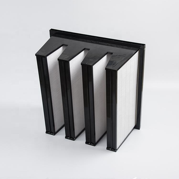 large air volume hepa W shape composed sbs frame v bank hepa filters for generatiors