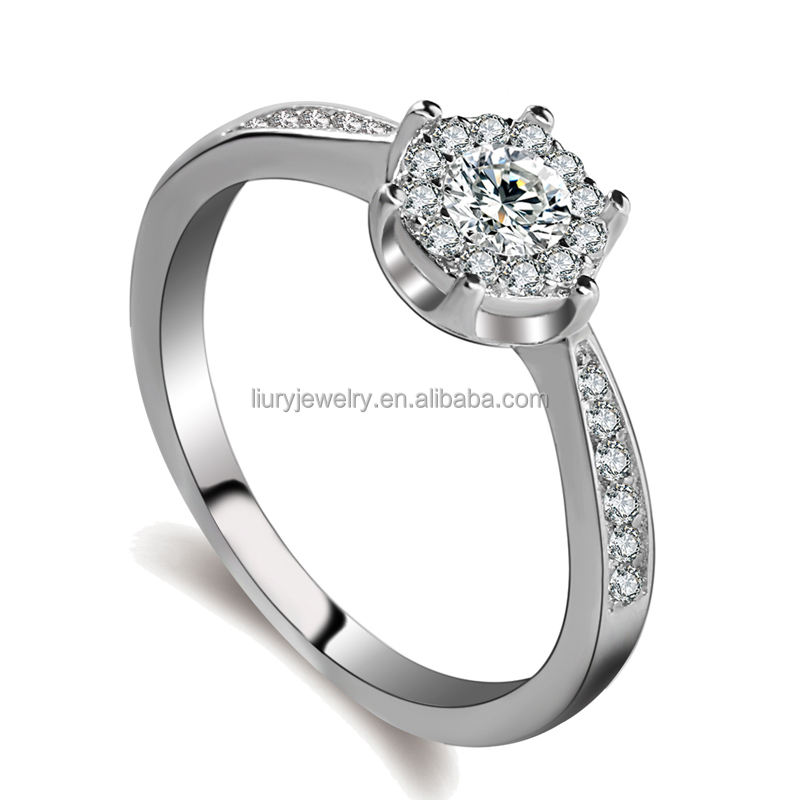 5925 silver ring diamond simple tat ring designs AAA zricon platinum pilates ring