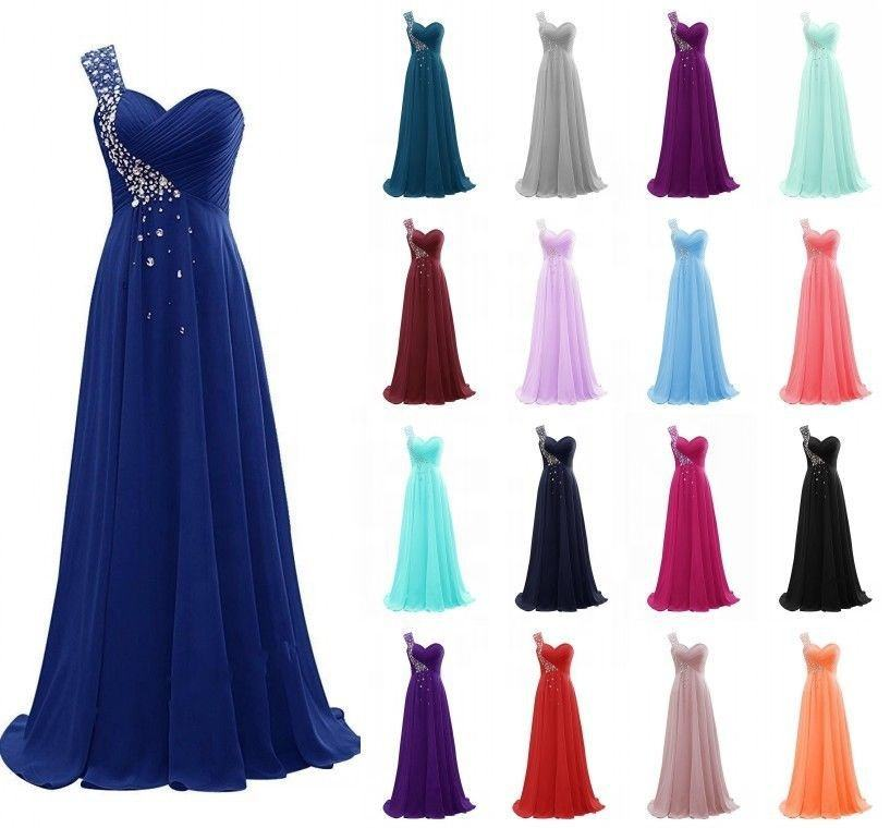 One Shoulder Beaded Long Women's Plus Size Chiffon Dresses Cheap Wholesale Yellow/White/Burgundy/Blue/Purple Bridesmaid Dresses