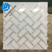 Mosaic White Herringbone Marble Mix Mother Of Pearl Shell Mosaic Tile