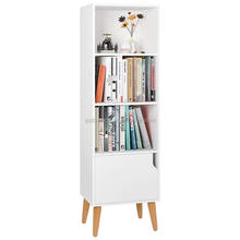 Wooden Bookcase 4 Cubes Storage Unit Bookshelf Free Standing Shelves with Door Legs White