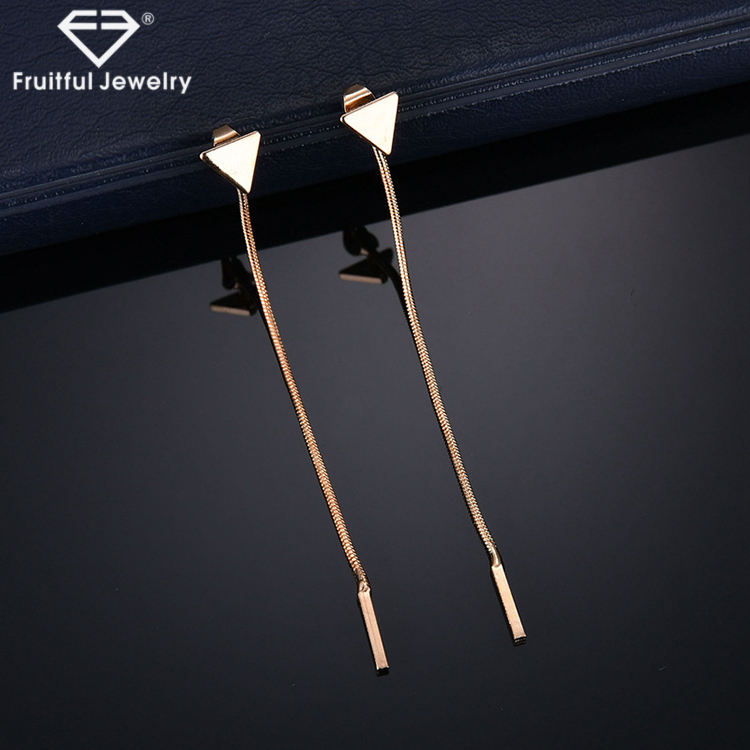 fashion women jewelry Alloy plating smooth triangle tassel chain Ear Nail Earrings