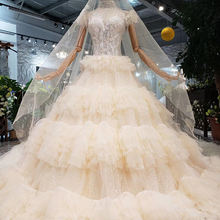 HTL317 Princess Wedding Dress with voile mariage high neck short sleeves fairy bridal dress up gown cake style robe de mariage