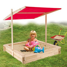 Square outdoor playground canopy wood sandboxes