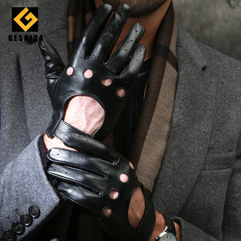 Cheap smartphone mens unlined deer skin driving leather gloves with holes