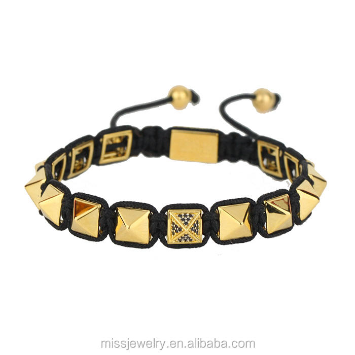 Macrame Gold Plated Men Pyramid 925 Sterling Silver Bracelet