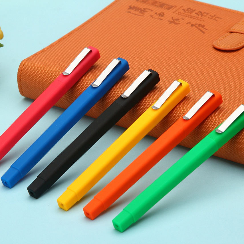 Promotional custom logo plastic ball pen rubber square pens canetas promotional items with logo