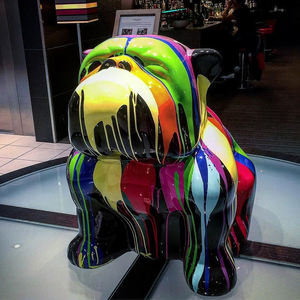 Wholesale Fiberglass Life Size Multi Coloured Bulldog Statue For Sale