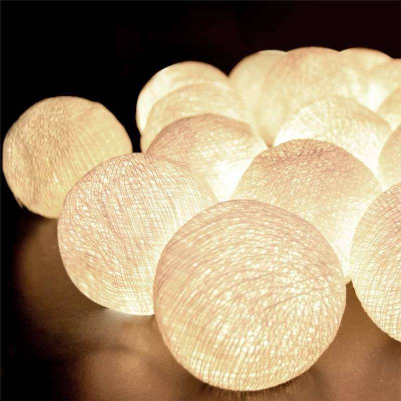 LED Battery Power cotton Ball String Fairy Lights Lanterns Tree Decor christmas lighting