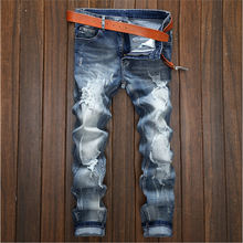 ripped jeans men skinny pants spot supplies juniors elastic trousers slim fit boys Scratching jeans