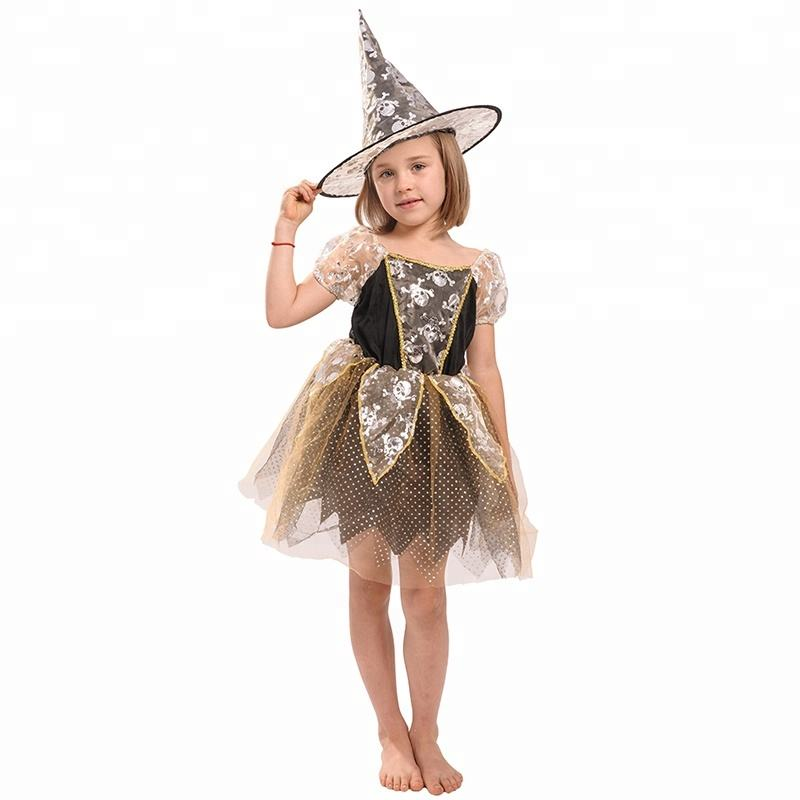 RTS children girls gold witches Halloween costume for kids cosplay party carnival dress witch costumes
