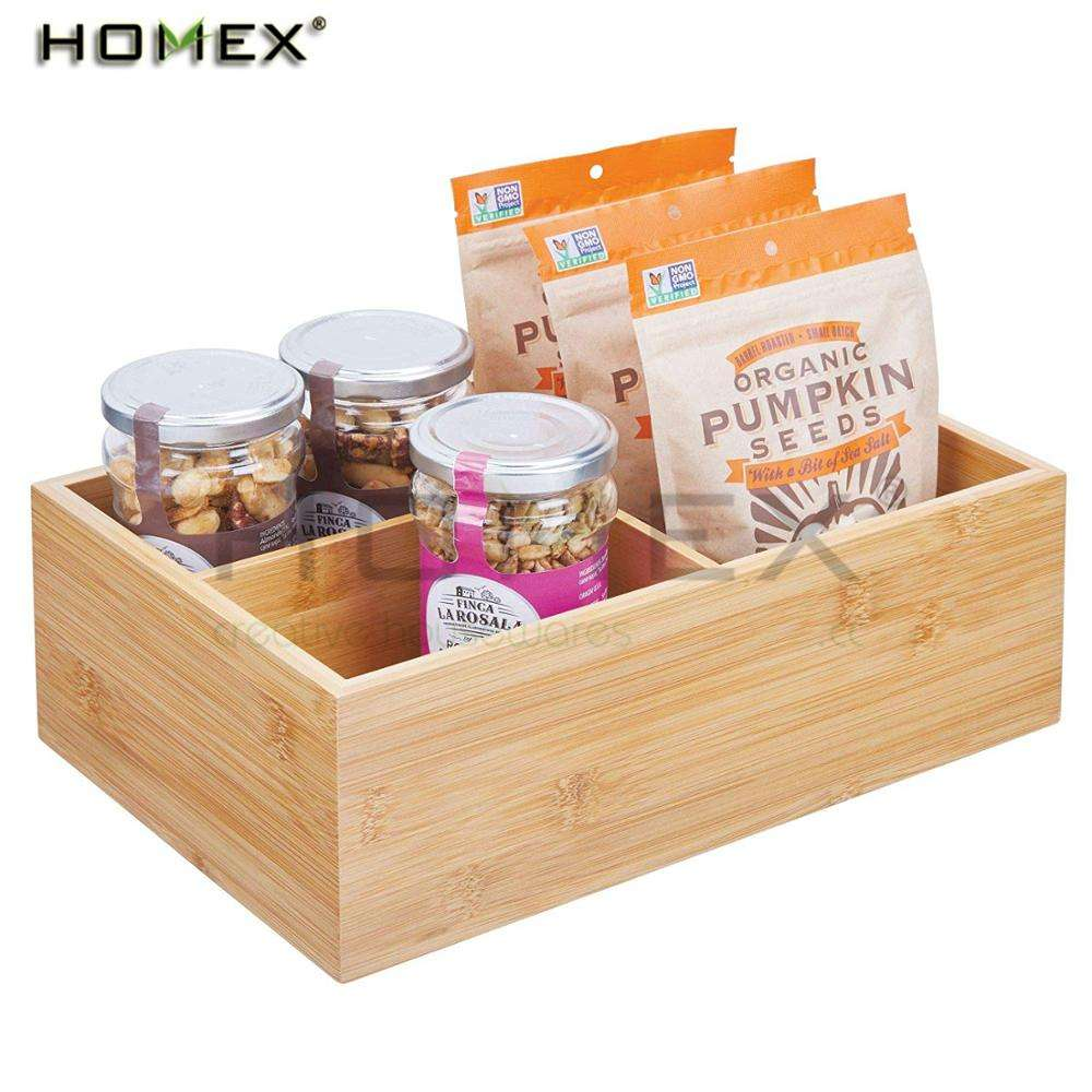 Bamboo Food Storage 3 Divided Tea Bag Box Storage Bin Container/Homex_FSC/BSCI Factory