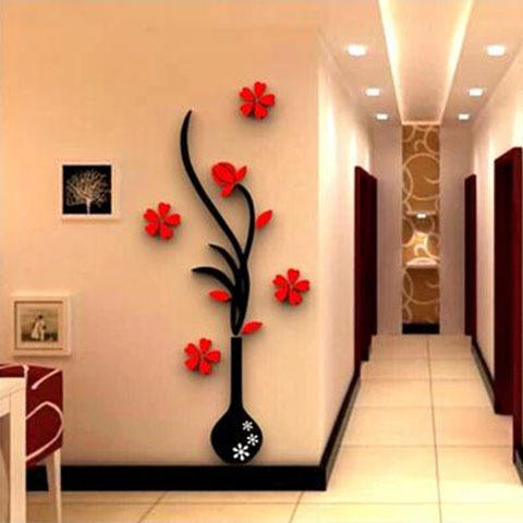 Hot Sale Adhesive Acrylic Mirror Wall Decorations Wholesale Stylish DIY 3D Acrylic Mirror Wall Stickers