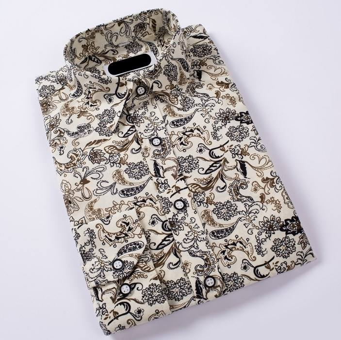 organic all over print paisley pattern cotton men casual luxury style shirt
