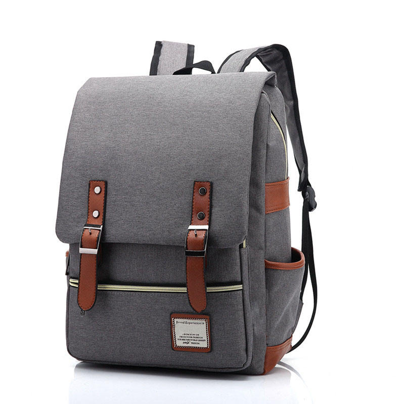 2020 canvas School College 15 inch blank Notebook bag outdoor Vintage Grey laptop canvas backpack for Women Men