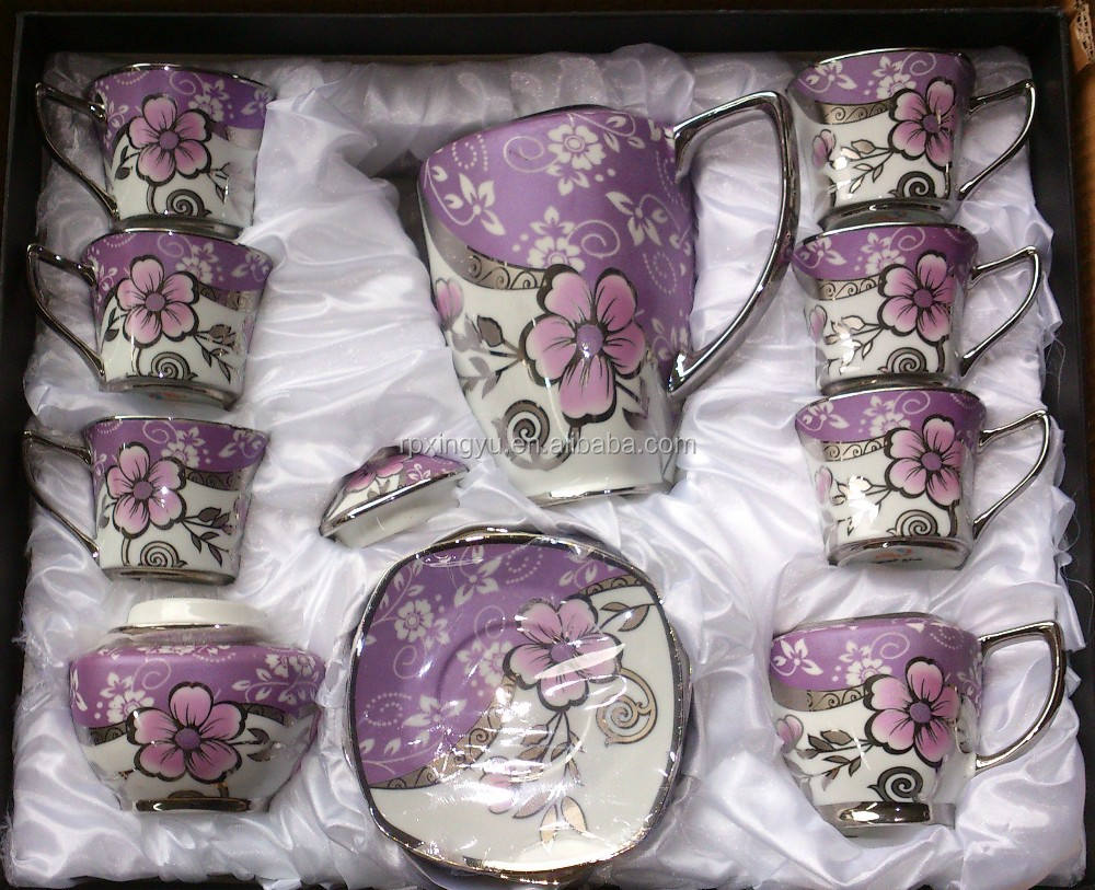 Factory price turkish products 17pcs porcelain silver plated tea set