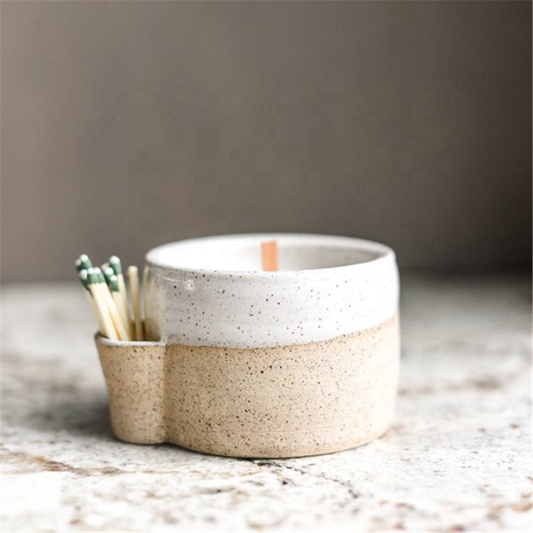 Fancy design speckle glaze matte gift craft home goods ceramic candle container jar with match sticks holder