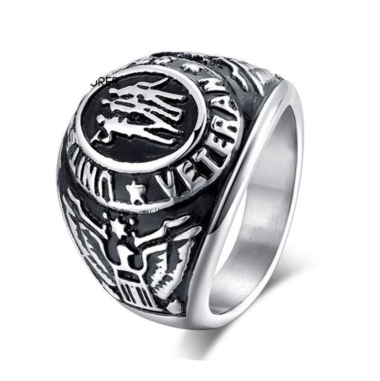 Stainless Steel Casting Engraved Double Eagle Logo Domineering American Military Gay Men Ring Jewelry