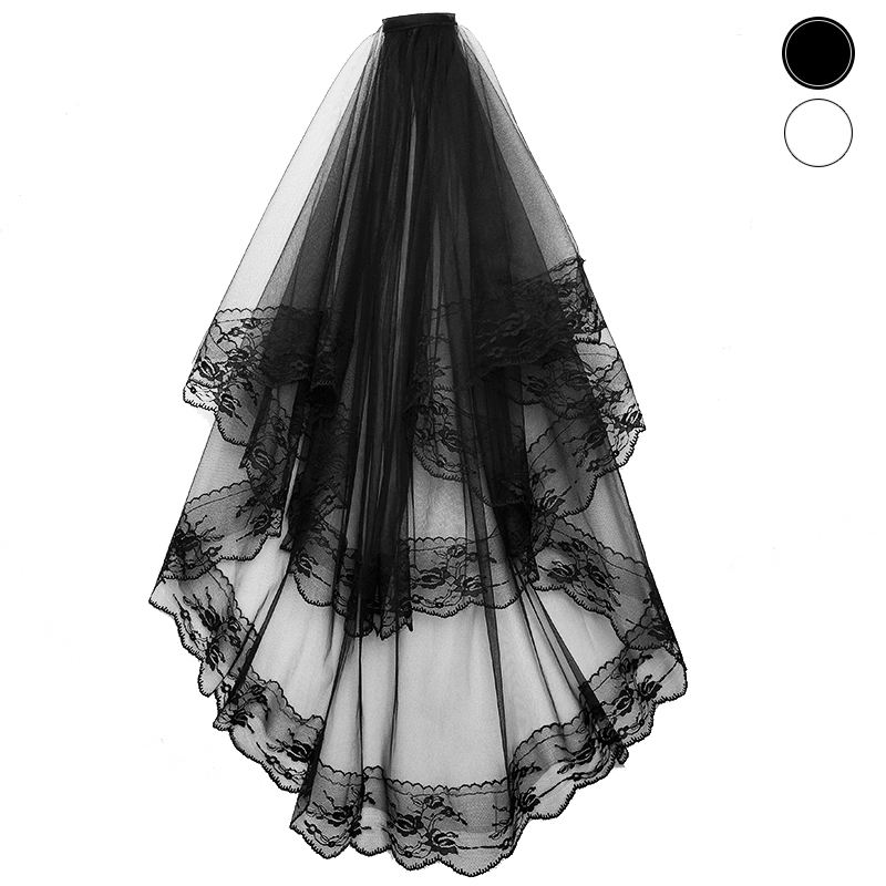 2T Black Lace Wedding Bridal Gothic Veil with Comb Hallowmas Costume Photography