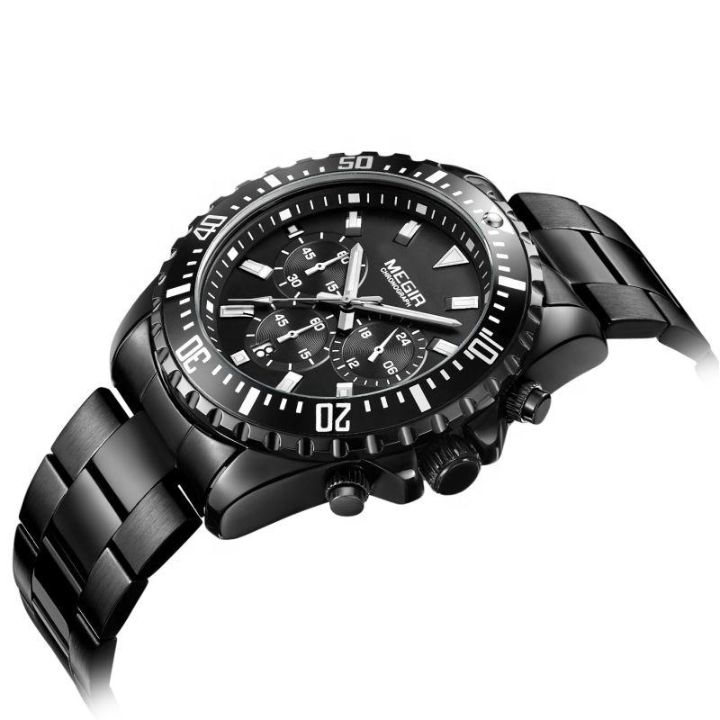 ALLOY [ Japan Movt Quartz Watch ] IP Black Plating Cool 2064G Male Japan Movt Quartz Megir Watch Stainless Steel Bezel