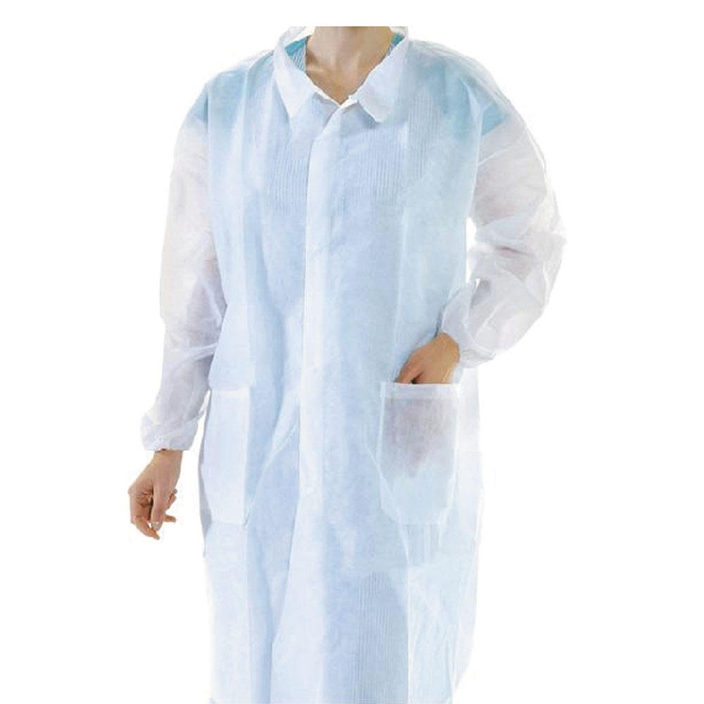 Disposable Lab Coat/ Visitor Clothes/ Lab Gown with Short Collar