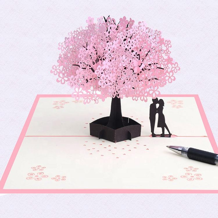 Hot selling laser cutting pop up card custom 3d valentines card