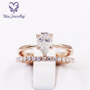 Customized AU585 14k rose gold ring set 5*8mm pear colorless moissanite engagement lady band