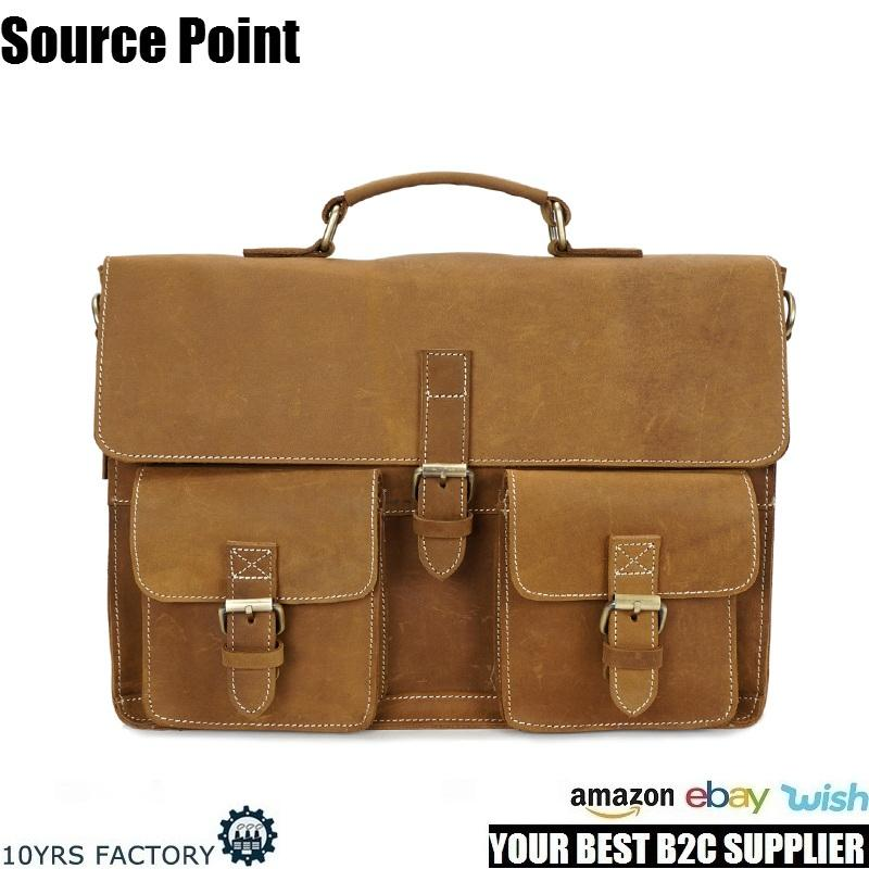 YD-1056 Vintage man business cowhide genuine leather briefcase