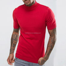 private label t-shirt men fashion red basic blank fitted turtle neck t-shirt